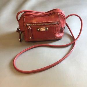 Tignanello red leather crossbody bag